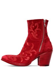 Rocco P. 70Mm Embroidered Suede Ankle Boots
