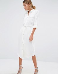 Oasis Pinstripe Shirt Dress Ivory White