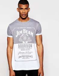 Asos T Shirt With Jim Beam Print In Relaxed Skater Fit With Roll Sleeve Whitegrey