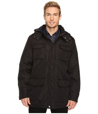 Perry Ellis Poly Zip Front With Snap Placket Removable Hood Black Men's Coat