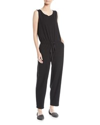 Eileen Fisher Sleeveless Drawstring Waist Jumpsuit Petite Black