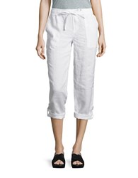 Lord And Taylor Petite Cropped Linen Pants White
