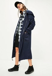 Missguided Navy Ruched Sleeve Longline Parka Coat