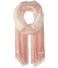 Love Quotes Linen Cotton Variable Stripe Blush White Scarves Pink