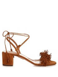 Aquazzura Wild Thing Suede Fringed Block Heel Sandals Tan
