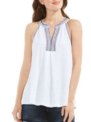 Vince Camuto Embroidered Halter Tank Top New Ivory