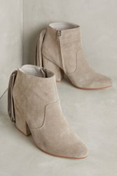 Anthropologie Ariana Bohling Kailie Fringe Booties Grey