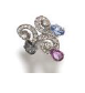 Fabio Salini Ring Capricci With Briolet Sapphires And Diamonds Silver Blue Pink