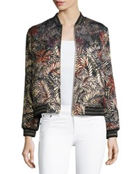 Ba And Sh Santiago Metallic Jacquard Bomber Jacket Multi Pattern