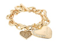 Guess Logo Heart Multi Chain Toggle Bracelet Gold Crystal Bracelet