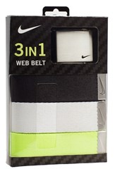 Men's Nike Web Belts Black White Green 3 Pack
