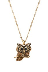 Marc Jacobs Charms Owl Pendant Necklace Metallic Gold