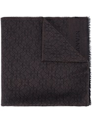 Lanvin Knitted Fringed Scarf Brown