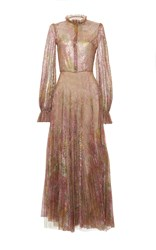 Luisa Beccaria Metallic Embroidered Long Dress