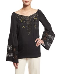 Nanette Lepore Long Sleeve Embroidered Peasant Blouse Size 0 Black