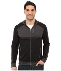 Calvin Klein Color Block Ponte Zip Front Hoodie Black Men's Clothing