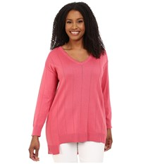 Vince Camuto Plus Size Long Sleeve V Neck Asym Hem Drop Needle Sweater Coral Sugar Women's Sweater Pink