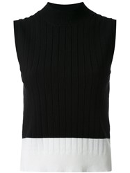 Loveless Ribbed Contrast Tank Black