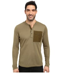 Nau Randygoat Lite Henley Top Frond Heather Men's Long Sleeve Pullover Olive