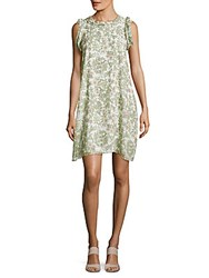 Max Studio Sleeveless Floral Print Shift Dress Ivory
