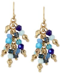 Inc International Concepts M. Haskell For Inc Gold Tone Blue Beaded Cluster Drop Earrings Only At Macy's