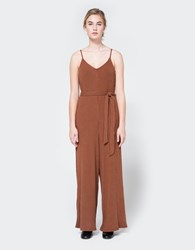 Farrow Ribbed Knit Jumpsuit In Russet