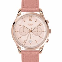 Henry London Ladies Shoreditch Chronograph Leather Strap Watch Rose Gold Nude Neutrals