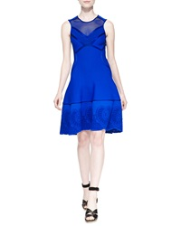 Roberto Cavalli Mesh Inset Embroidered Scuba Knit Dress Blue