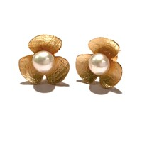 'Forget Me Not' By Houghton Davies Jewellery Freshwater Pearl Flower Stud Earrings Gold