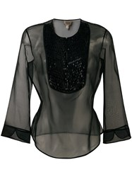 Armani Collezioni Three Quarters Sleeve Sheer Blouse Black