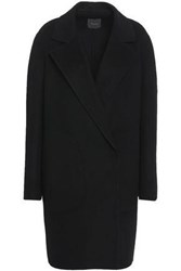 Theory Double Breasted Wool And Cashmere Blend Felt Coat Black