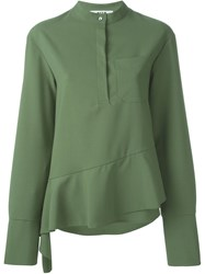 Msgm Asymmetric Ruffle Blouse Green