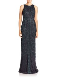 Theia Floral Sequined Gown Peacock