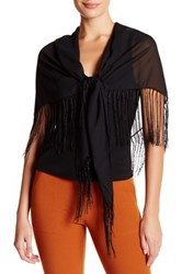 Cejon Fringed Square Wrap Black
