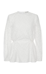 Emilia Wickstead Didi Long Sleeve Peplum Top White