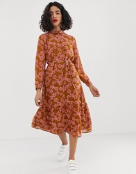 Moss Copenhagen Midaxi Shirt Dress With Tie Waist In Floral Print Multi