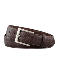 W.Kleinberg Matte Alligator Belt With Interchangeable Buckles Brown 34