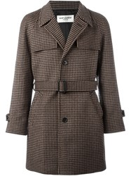 Saint Laurent Houndstooth Belted Coat Brown