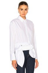 Victoria Beckham Asymmetric Bow Shirt In White