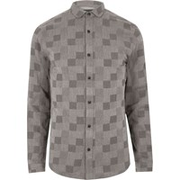 Only And Sons River Island Mens Grey Check Shirt