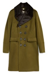 Men's Burberry London 'Elmford' Double Breasted Wool Blend Top Coat With Detachable Genuine Rabbit Fur Trim Olive Green