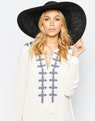 Asos Oversized Straw Hat With Crochet Insert Black