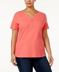 Karen Scott Plus Size Cotton Henley T Shirt Only At Macy's Peony Coral