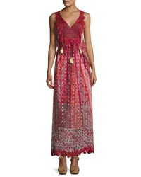 Elie Tahari Mckenna Sleeveless Floral Chiffon Maxi Dress Red