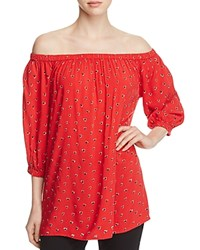 Beachlunchlounge Off The Shoulder Heart Print Blouse 100 Bloomingdale's Exclusive Red Heart