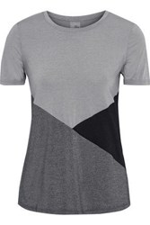 Iris And Ink Woman Color Block Stretch Jersey T Shirt Gray