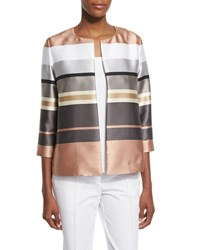 Lafayette 148 New York Leo Striped 3 4 Sleeve Jacket Women's Rock Multi