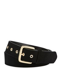 Frame Square Buckle Leather Grommet Belt Black