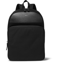 Hugo Boss Meridian Cross Grain Leather Trimmed Canvas Backpack Black