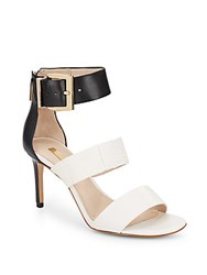 Louise Et Cie Gosia Embossed Leather Paneled Sandals White Black